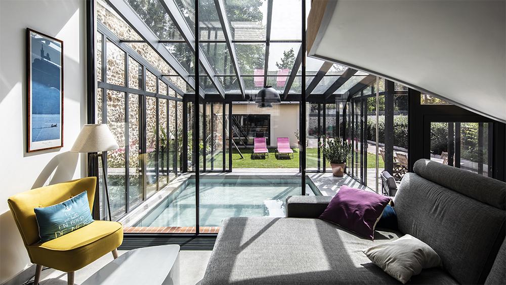 Baies vitrées coulissantes pour véranda pour piscine