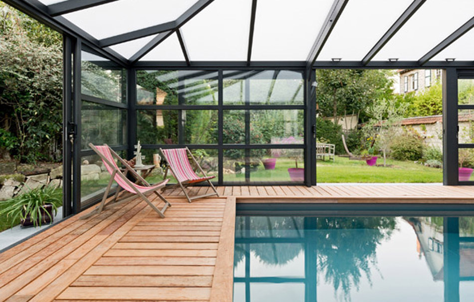 Véranda pour piscine contemporaine Cover Concept by Import Garden