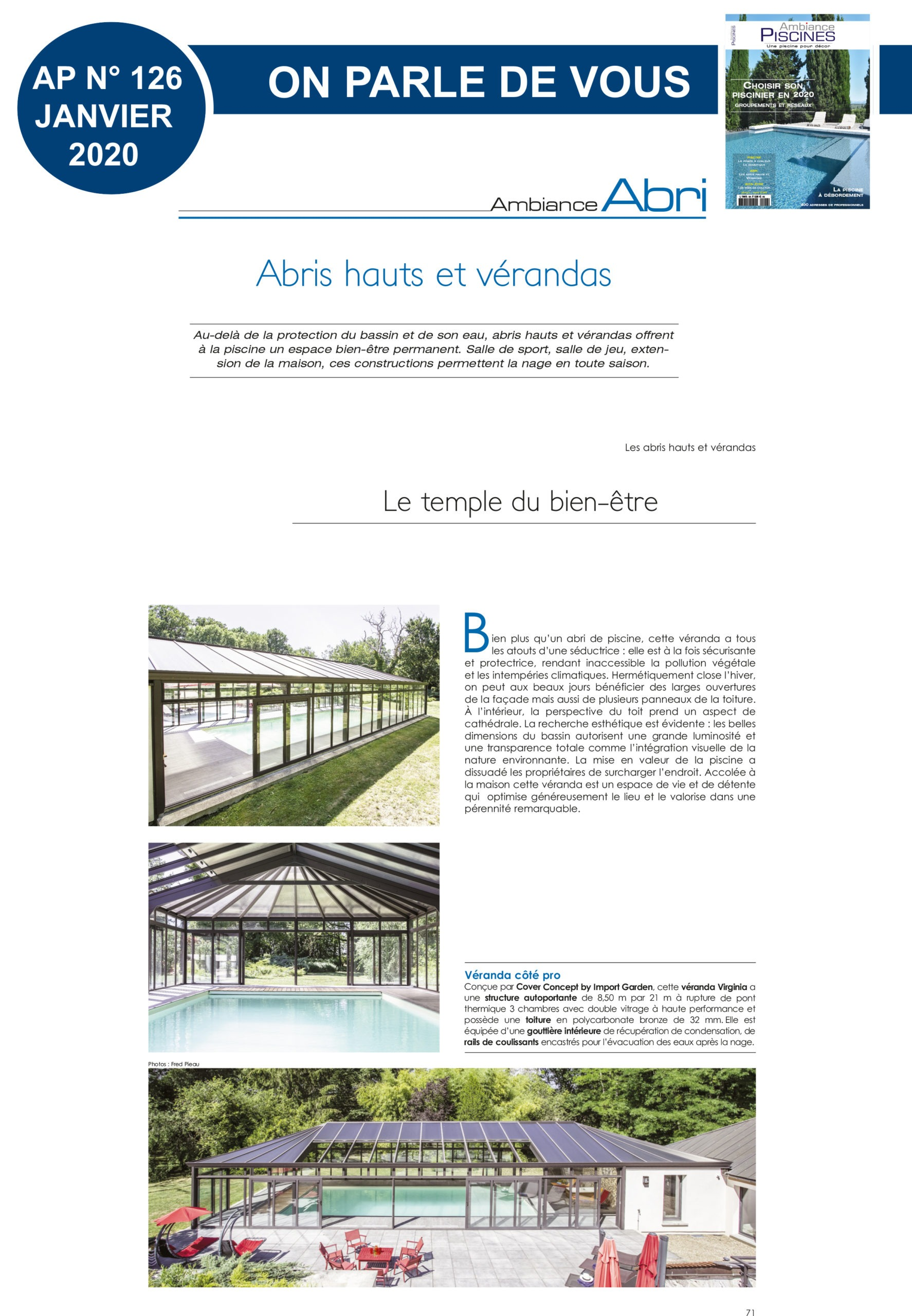 Ambiance Piscines : reportage Cover Concept
