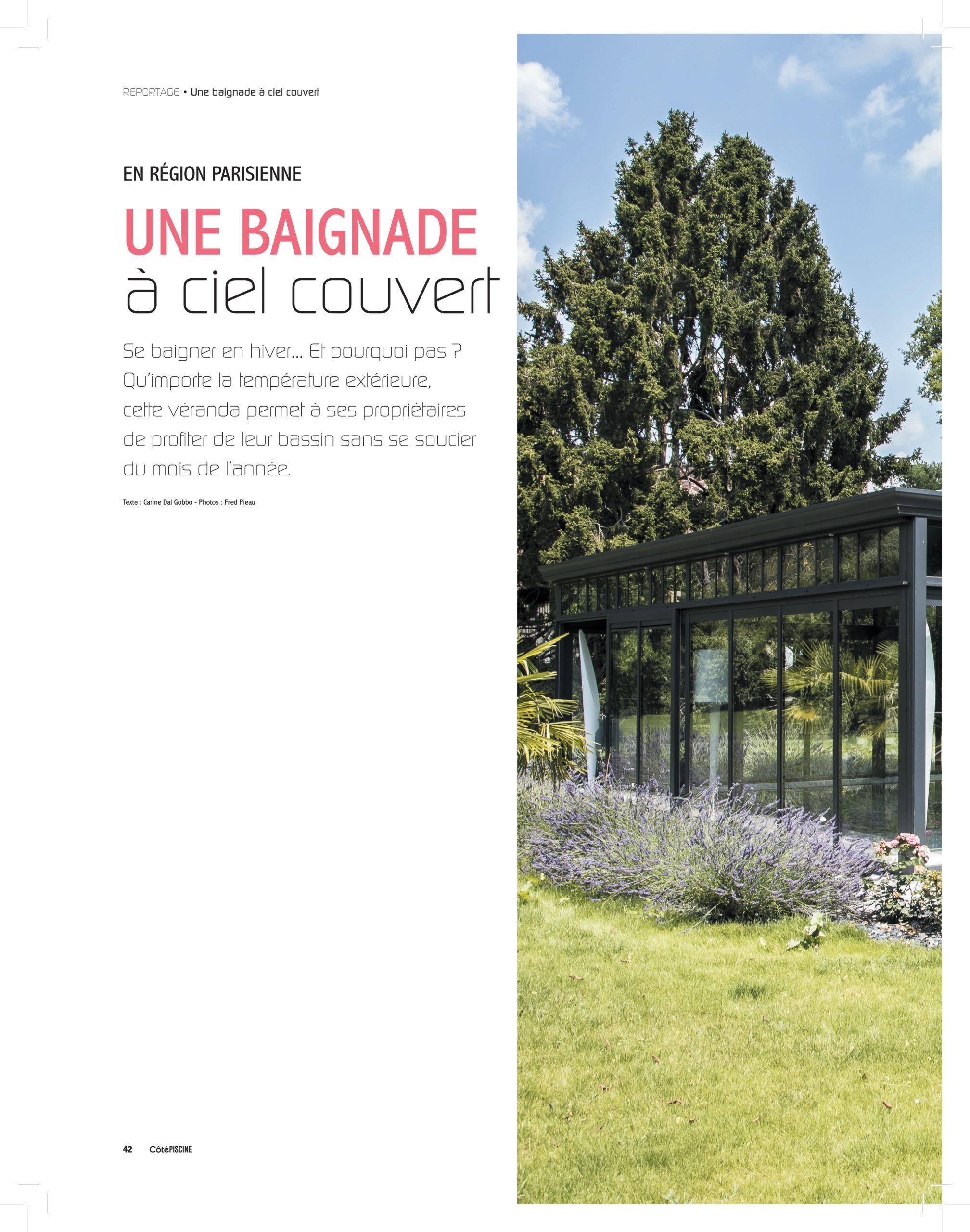 Reportage de cover Concept dans le magazine Côté Piscine