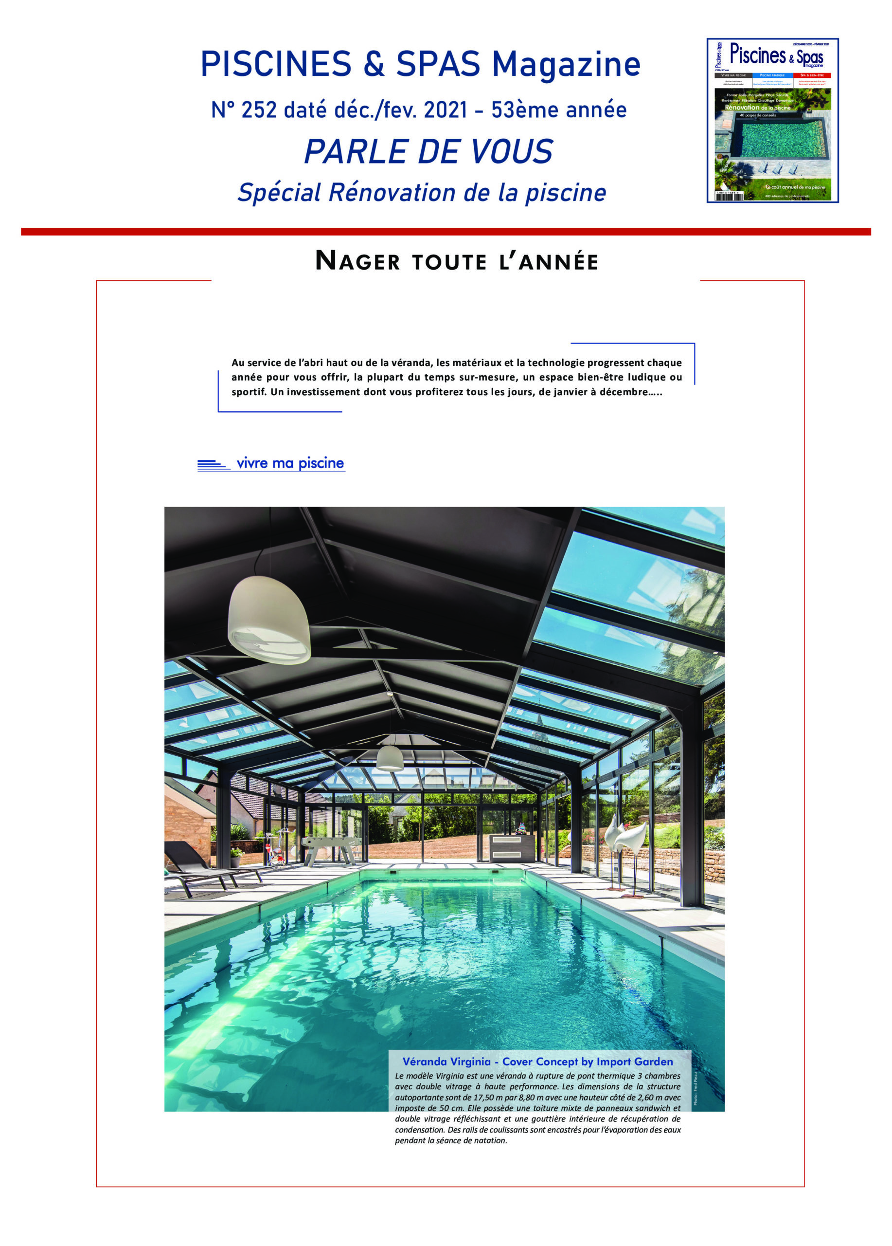 Cover Concept by Import Garden dans Piscines et Spas magazine n°252